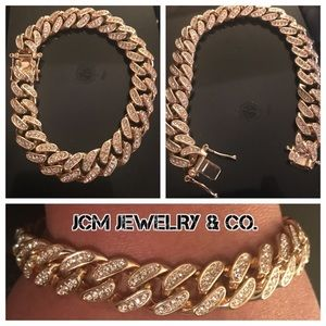 Other - 14K Gold Plated Iced Out Bracelet (Double Lock)